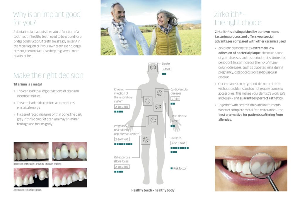 Patient flyer explaining benefits of zirkolith ceramic implants.
